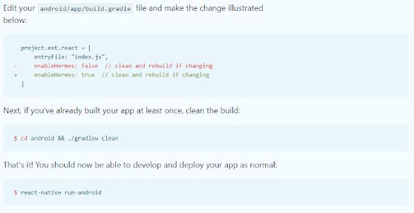 Activer moteur JavaScript Hermes