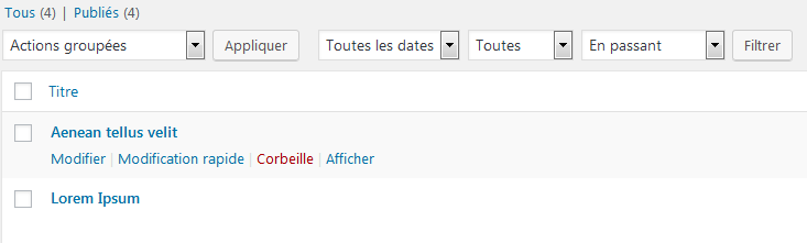 WordPress 5.2 - Filtre par format d'article