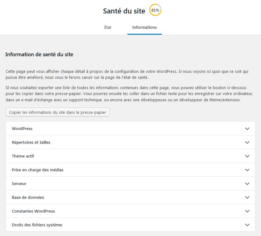 WordPress - Santé du site : Info