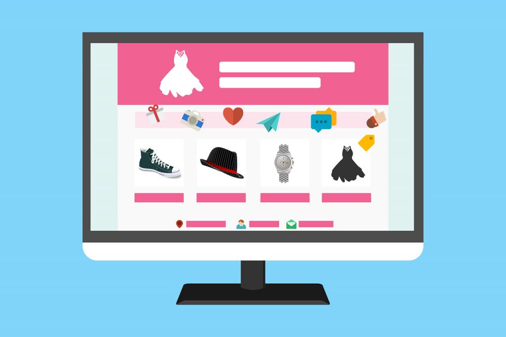 Illustration d'un ordinateur affichant un site e-commerce