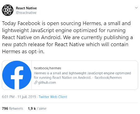 Tweet de React Native pour la sortie d'Hermes