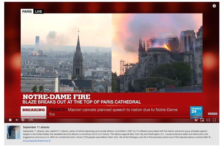 Youtube confond Notre-Dame avec le 11 Septembre